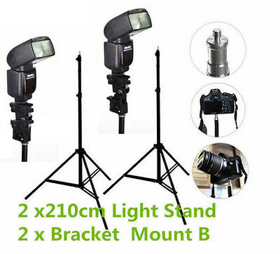 2pcs 210cm Light Stand Flash Shoe Bracket Mount B Kit For Photo Studio Lighting