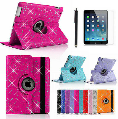 360° Rotating Bling Leather Folio Case SPARKLY Bling Cover for Apple ipad 4 3 2