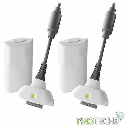 2x White Rechargeable Plug Play & Charge Battery Pack Xbox 360