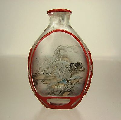 Chinese Inside-Painted Glass Snuff Bottle with Red Overlays, Circa 1900