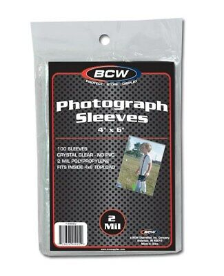 Pack of 100 BCW 4x6 Photo 2 mil Soft Poly Sleeves protectors 4 x 6 sheets covers