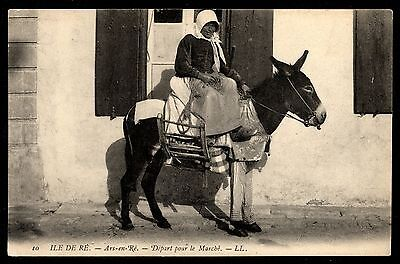 France Vintage Postcard Ile De Re, Woman on donkey going to market
