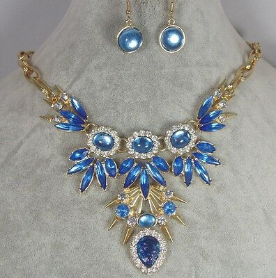 Blue Crystal & Acrylic Opal Rhinestone Necklace Earring Set Gold Tone Lovely