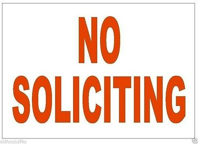 No Soliciting Sticker Stop Salespeople Safety Business Sign Decal Label D236