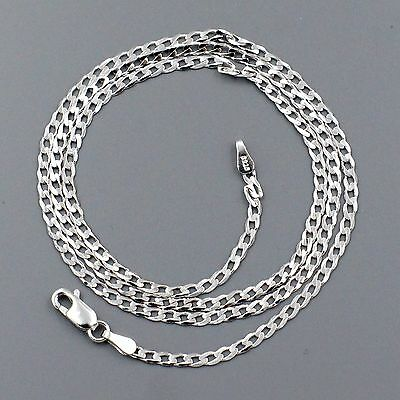 New 100% Solid 925 Sterling Silver 18 Inch Necklace Chain Italy Jewelry 01338