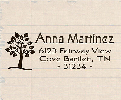 Custom Self Inking Personalized name business family return address tree stamp