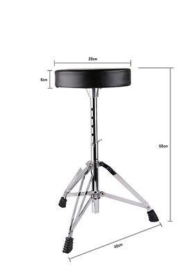 BN Padded Seat Adjustable Drum Throne Stool Stand Drummers Black