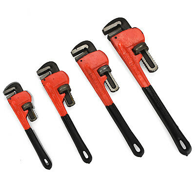 "Heavy Duty Pipe Wrench | 4pc Adjustable Set 8"" 10"" 14"" 18"" Monkey Soft Grip"