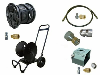 Sewer Jetter Cleaner Kit - HD Foot Valve, 200 X 3/8 Hose, Reel and Nozzles