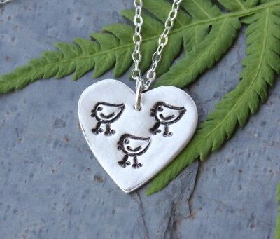 handmade fine silver bird charm sterling chain Rustic Blue Jay Necklace