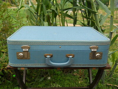 Vintage Lite Blue Vinyl Hard Shell Suitcase Luggage 21x16x6 Needs Cleaned