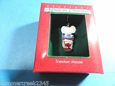 "Hallmark ""Sneaker Mouse"" Miniature Ornament  Dated 1988"