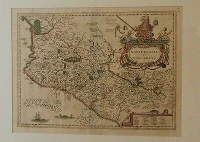 1635 ANTIQUE WEST MEXICO MAP by JAN JANSSON. NOT A REPRO. FINEST COLOR. FRAMED