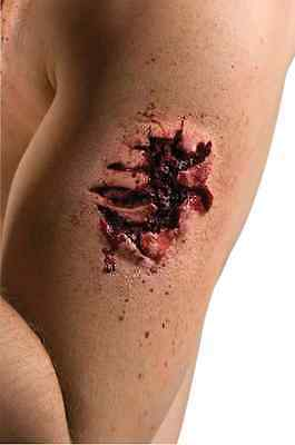 Raw Meat Bite Mark Gash Wound Attack Halloween Costume Makeup Latex Prosthetic