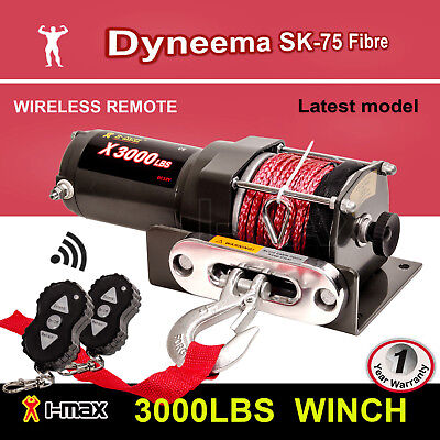 Winch 12V Wireless 3000LBS 1361KGS Electric Synthetic Rope Red ATV 4WD 4x4 BOAT