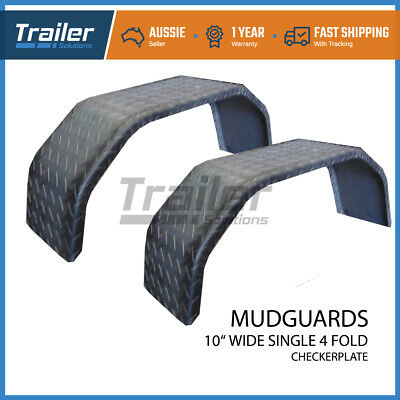 "Trailer  Mudguard Steel Check Plate Pair 4 Fold 10"" Wide Suit 15"" Wheel  Boat"