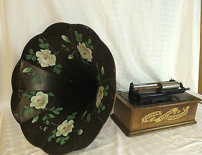 ANTIQUE EDISON STANDARD CYLINDER PHONOGRAPH WITH FLOWER HORN