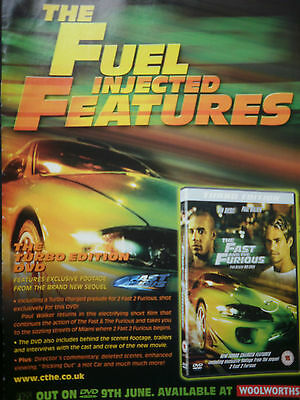 THE FAST AND THE FURIOUS - DVD RELEASE - FILM ADVERT 12 x 8 inch