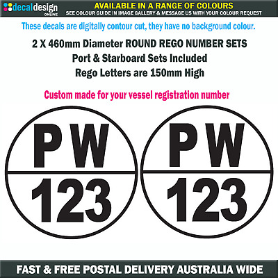 Round Boat Rego Stickers 150mm Port & Starboard Registration Vinyl Decal Set