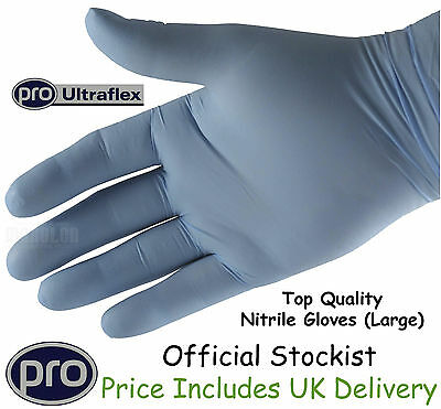 Gloves Nitrile Large Superior Powder Free Mechanics Heavy Duty Rubber x 100