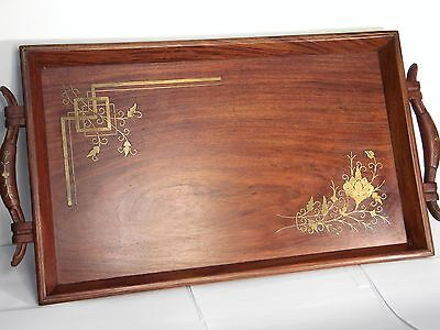 Art Nouveau Mahogany Brass Scroll Inlay Butler Serving Tray Carved Nice Patina