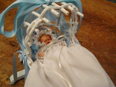 "Vintage 4"" Celluloid Jointed Doll Made In Italy Sleep Blue Eyes & Crib Cradle"