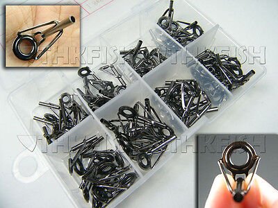 Top Grade! 80X in Box Ceramic Fishing Rod Parts Tip Tops Stainless Repair Guides