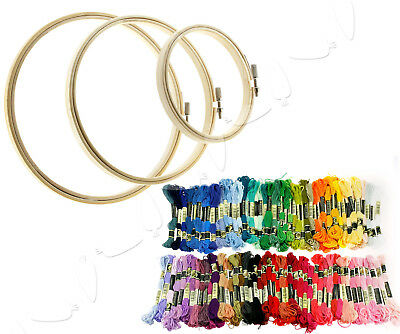 100pcs Embroidery Thread Cross Stitch Floss With 3pcs Round Bamboo Hoops/Rings