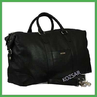KOZSAR genuine leather duffel travel bag / Carry bag - BLACK  52 x 29 x 20cm