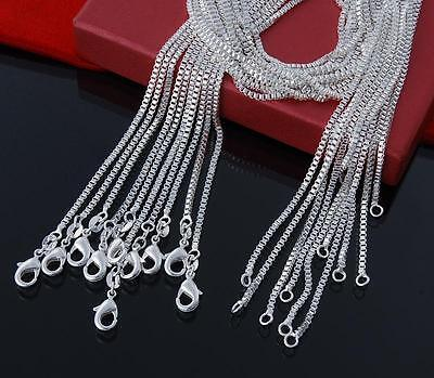 Wholesale 5pcs 925 sterling silver 1-2MM Elegant Box Chain Necklace 16-24 inches