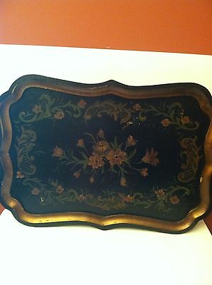 Vintage Wooden Tole Painted Tray