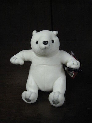"COCA COLA PLUSH POLAR BEAR COKE BEAN BAG 6.5"" SITTING with tags"