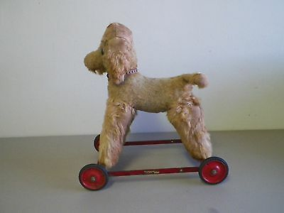 """Vintage Chiltern Mohair Dog Pull Toy On Wheels 14 1/2"""" Long  England"""
