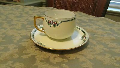 MZ Austria Art Deco  Teacup and Saucer Hand Painted Signed M N HalLev.