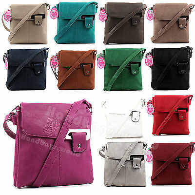 Ladies Soft Faux Leather Casual Messenger Satchel Shoulder Cross Body Bag