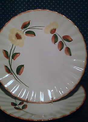 """2 Blue Ridge Southern Potteries Colonial Country Road 10 3/8"""" Dinner Plates"""