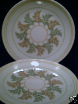 "2 Taylor Smith Ironstone Mint Leaf Pattern 10 1/2"" Dinner Plates"