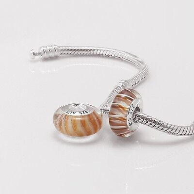 New! 925 Sterling Silver Core Pink Brown Cotton Candy Murano Glass Bead Charm