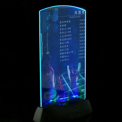 Acrylic Flashing Led Light Table Menu Restaurant Card Display Holder Stand  OK