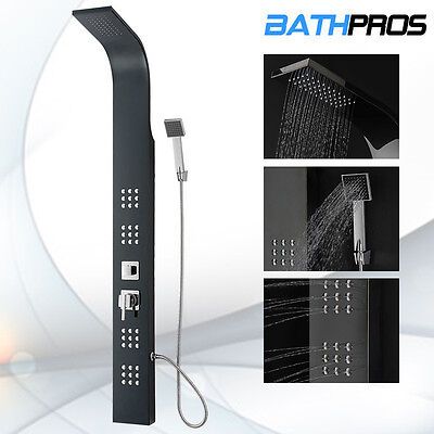 New Black Stainless Steel Shower Panel Multi Functional Massage Jets Tower 8855
