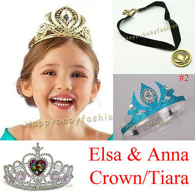 Girl Tiara Frozen Disney Princess Elsa Anna Costume Party Crown Necklace