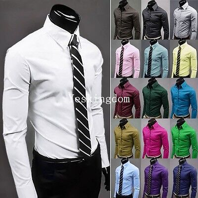 Mens Solid Luxury Formal Casual Business Long Sleeve Slim Fit Stylish Shirts