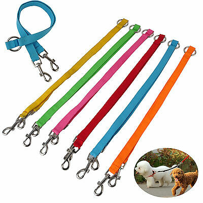 Nylon Two Way Double Dog Leash Lead Walk Two Dogs With One Lead Coupler