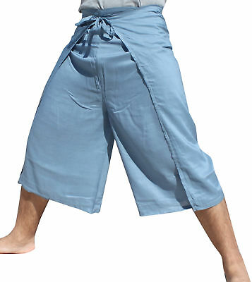 Drive In Wrap Pants Rayon Fabric Casual Everyday In Blue Grey