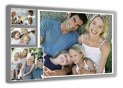 Personalised Photo Collage Printed - framed canvas ready to hang - 4 photos d906