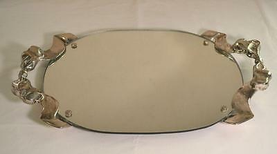 Large Vintage 1988 Godinger Mirror Tray w/ Silver Ribbon Handles Vanity/Serving