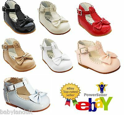 Sevva Baby Infant Girls Spanish Style Patent Walking Shoes + Bow Size 2 3 4 5 6