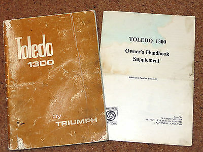 TRIUMPH TOLEDO 1300 Owners Manual Handbook 1973 includes Supplement