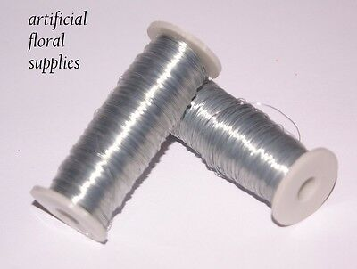 1 Roll Thin Silver Reel Wire 30 Gauge 45 metres ideal for buttonholes & corsage