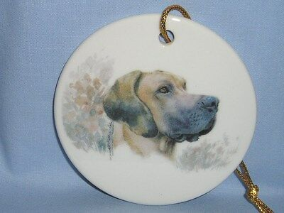 Great Dane Dog Uncropped 3 In Round Christmas Tree Ornament Porcelain Decal-L
